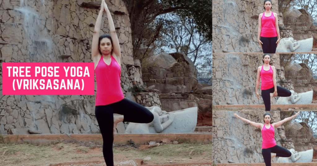 Tree pose yoga - Vriksasana - Steps