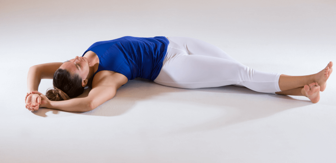 Yin yoga banana pose